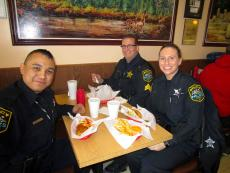 Police officers enjoying lunch at The Works Restaurant in Glenview