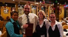 Friendly manager and staff at Tom's Steak House in Melrose Park