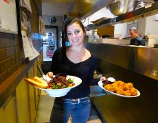 Friendly server with delicious food at Union Ale House in Prospect Heights